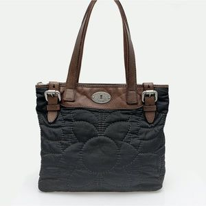 FOSSIL Key-Per Black Quilted Tote Bag